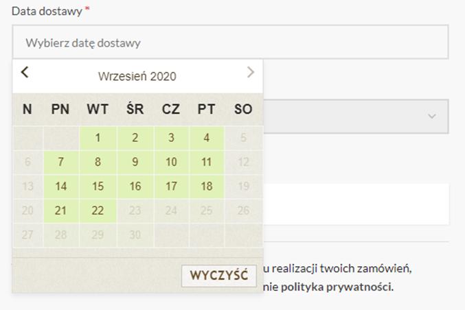 Dostawa na życzenie - podgląd kalendarza